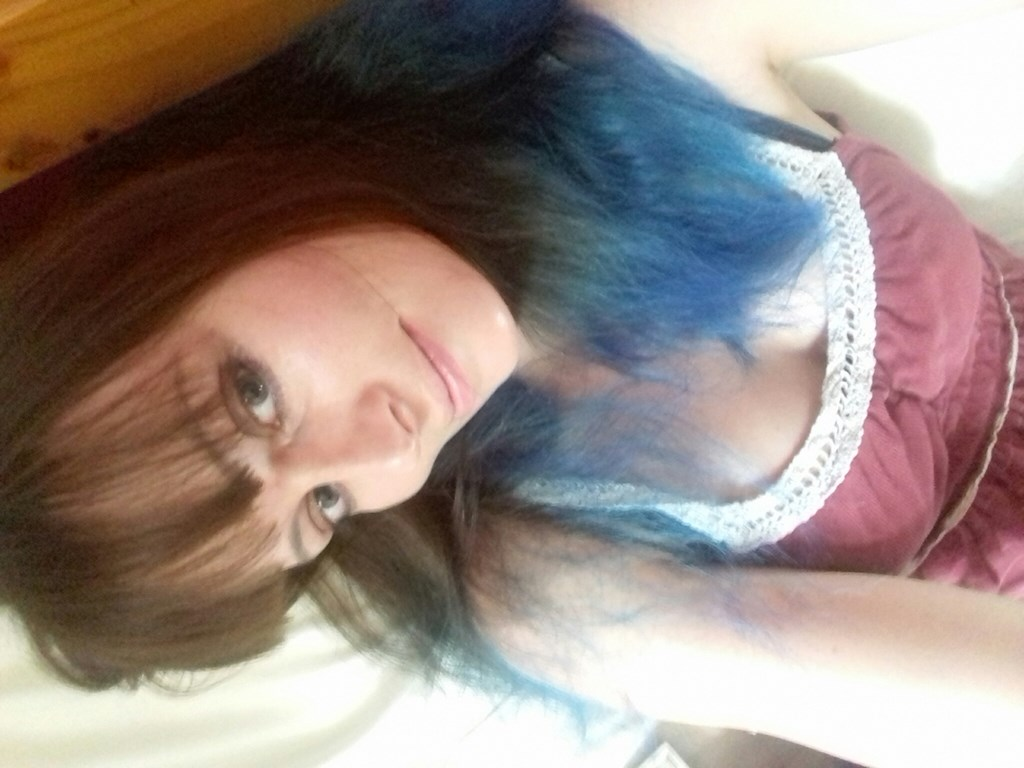 I have blue hair, then I chopped all my hair off again
