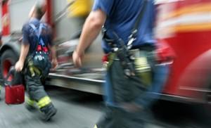 Bride arrives at wedding in fire engine after car blaze