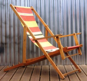 Old lady gets trapped in deckchair